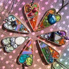 glass mosaic jewelry heart pendants- love these!