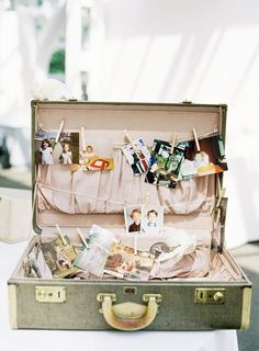 in Bloom Brooklyn Wedding Everyone has their own suitcase. Each filled with their own things about them and their lifeEveryone has their own suitcase. Each filled with their own things about them and their life Vintage Suitcases, Vintage Luggage, Recycle Your Wedding, On Your Wedding Day, Suitcase Display, Suitcase Card Box, Vintage Suitcase Wedding, Vintage Suitcase Decor, Deco Originale