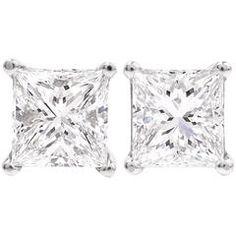 Certified GIA 2.01 Carat Princess-Cut Diamond White Gold Stud Earrings