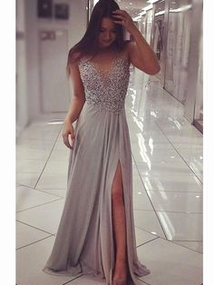 Silver Grey Floor Length Prom Dress with Slit, Silver Grey Formal Dress #formaldress #formaldress2018 #promdress #promdress2018 #silvergreypromdress