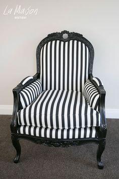 PRE ORDER: Maroco Armchair - Black and White stripe
