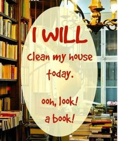 Funny memes about the struggles bookworms go through with spring cleaning.