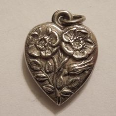 Sterling Silver Puffy Heart Charm - Double-sided Flower of the Month Heart - Primroses