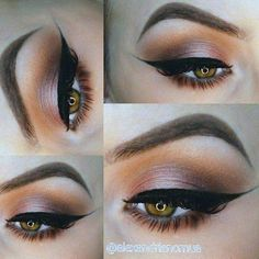everyday smoke: pink on the lid, warm crease, winged liner @alexandrianc #eye makeup eyeliner