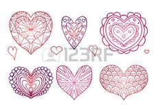 kreativit%C3%A1s%3A+Set+of+contours+of+the+doodle+hearts+decorated+boho+patterns+for+your+creativity