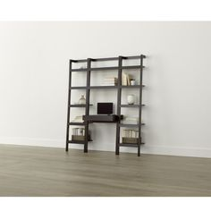 """Shop Sawyer Mocha Leaning Desk with Two 18"""" Bookcases.  Space-saving, clean-looking Sawyer uses an ingenious leaning, modular design to creatively solve storage solutions throughout the home."""