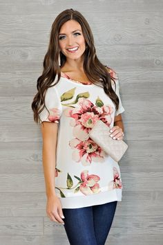* Andy Floral Top : Off White