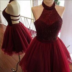 Sexy Prom Dress,Burgundy Prom Dress,Short Homecoming Dress,Beading Prom Dress by fancygirldress, $159.00 USD