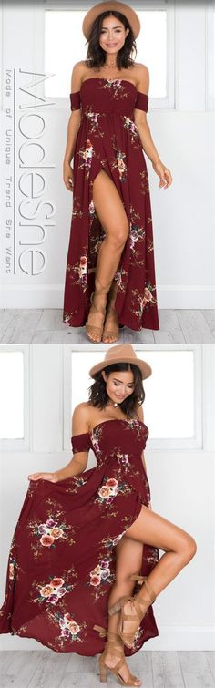 Detail Off the shoulder dresses will have you love struck! This gorgeous floral dress features a sexy split down the side and is perfect for both day and night events. Smocked bodice with high elastic