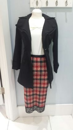 Mikarose double collared top $44.99, Black jacket w/buttons & double lapels $56.99, plaid skirt w/lace hem $29.99