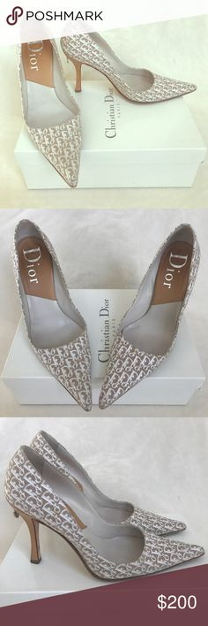 """DIOR HEELS Dior is back! Gorgeous Dior Heels. Back of heel has the cutest charms which makes it such a unique shoe. Has Dior print all over shoe with a tan leather heel. Has been previously worn but still lots of life left! Heel height is about 4""""! 100% Authentic! Dior Shoes Heels"""