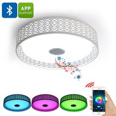 Bluetooth LED Ceiling Light - Play Music Bluetooth Connection Mobile Application 36W 3000 Lumens Millions of Colors
