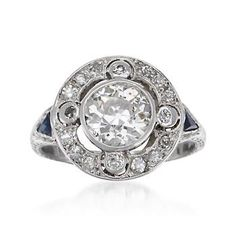 C. 1915 Vintage 2.44 ct. t.w. Diamond Ring With Synthetic Sapphires in Platinum. Size 8 | #786063 @ ross-simons.com
