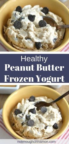 No need to feel guilty about eating a big bowl of this Reese's Peanut Butter Cup Healthy Frozen Yogurt! You don't even need an ice cream maker to make this light frozen ice cream dessert! The secret ingredient for ultimate creaminess? Healthy Sweets, Healthy Dessert Recipes, Gourmet Recipes, Healthy Snacks, Dinner Recipes, Healthy Sweet Treats, Protein Recipes, Healthy Cookies, Healthy Dinners
