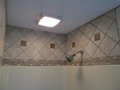 Tile above fiberglass tub shower enclosure Bathroom Plans, Bathroom Ideas, Bath Ideas, Bathroom Updates, Bathroom Stuff, Bathroom Inspo, Design Bathroom, Bathroom Interior, Fiberglass Shower Stalls