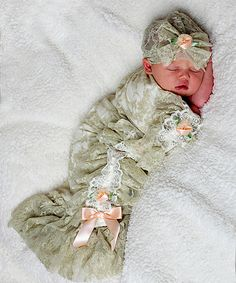 Look at this Sage Satin Bud Swaddle Blanket & Beanie on #zulily today!
