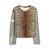 3.1 Phillip Lim Leopard Combo-sleeve Sweatshirt   Kirna Zabete