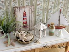 Miniature Dollhouse Seaside Decoration Set by Minicler on Etsy, $32.47