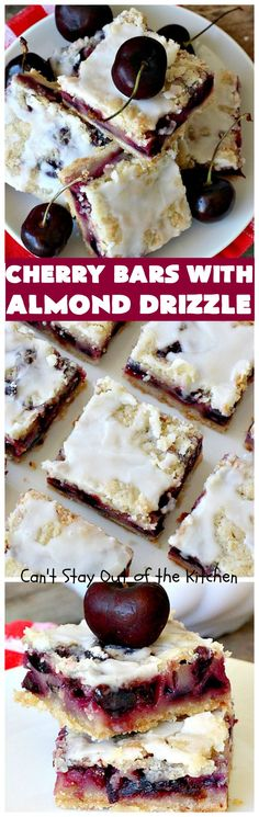 Cherry Bars with Almond Drizzle (Can't Stay Out Of The Kitchen) Cherry Desserts, Cherry Recipes, No Bake Desserts, Just Desserts, Delicious Desserts, Delicious Cookies, Dessert Recipes, Yummy Food, Yummy Treats