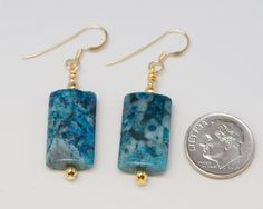 Blue Crazy Lace Agate Reiki-infused Earrings with Sterling Silver or 14k Gold Filled Ear Wires by HealingEarthReiki on Etsy