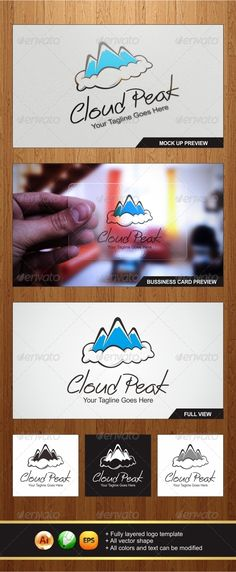 Cloud Peak - Logo Design Template Vector #logotype Download it here: http://graphicriver.net/item/cloud-peak-logo/5676367?s_rank=1309?ref=nexion