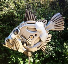 New fish made for the hubcap aquarium! For sale from Hubcap Creatures #johndory #fish #recycled