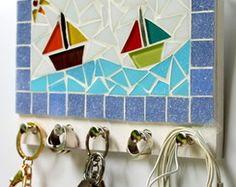 Porta Chaves Cabideiro Mosaico Barcos