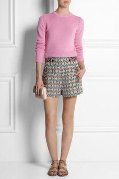 MIU MIU Cropped cashmere sweater  JIMMY CHOO Snake-effect leather sandals  ANNA SUI High-rise daisy-brocade shorts  BOTTEGA VENETA Intrecciato leather pouch
