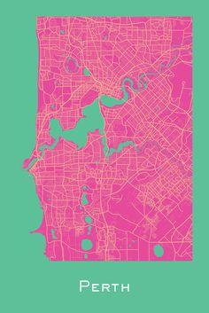 Perth, Australia map prints by Ræ | Nordico