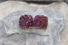 PAIR    14mm square purple Natural Agate Titanium Druzy Cabochon cab Drusy Natural Gemstone Geode Jewelry pairs Craft by madameperlina on Etsy