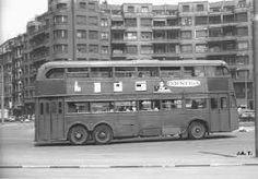 Old double decker bus in Zabalburu, Bilbao. Ebro, Double Decker Bus, Bus Coach, History, City, San Bernardo, Plaza, Color Azul, Athletic