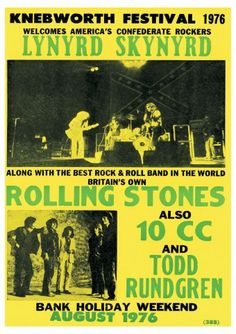 Vintage, retro, hippie classic rock poster - Lynyrd Skynyrd and Rolling Stones