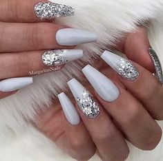 23 Beautiful Nail Art Designs for Coffin Nails: We have found 23 beautiful nail art designs for coffin nails. There is something for everyone, from vibrant colors to manicures that are subtle and elegant. 43 Beautiful Nail Art Designs for Coffin Nails Cute Acrylic Nails, Cute Nails, White And Silver Nails, White Acrylic Nails With Glitter, Gray Nails, Silver Glitter Nails, Coffin Nails Glitter, Acrylic Nail Designs Glitter, Silver Nail Art