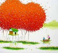 Awesome colorful paintings by Phan Thu Trang - Ego - AlterEgo Oil Painting Pictures, Oil Painting On Canvas, Colorful Paintings, Beautiful Paintings, Pinturas Em Tom Pastel, Beautiful Vietnam, Phan, Anime Comics, Picture Wall