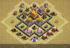 Best Town Hall 4 War, Farming and Hybrid Bases Anti Giants These base designs can defend giants archer and barbarians with ease. Town Hall 4, Clash Of Clans, Geek Stuff, Base, Farming, Layouts, Ideas, Cool Art Drawings, Geek Things