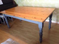 Pine farmhouse style table 5 x 3 painted Annie Sloan Chalk Paint