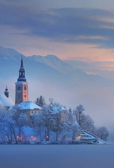 Mystical winter morning at lake Bled surrounded by the Alps, Slovenia  (by Dan Briski on 500px)