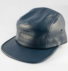 Supreme Leather Camp Cap  · Navy
