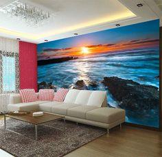 Sunset Rock Beach 3D Full Wall Mural Large Print Wallpaper Home Decal Decor Kids