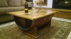This wood coffee table made from a wine barrel is a nice industrial coffee table, (wood table) and a good place for your wine barrel decor! Wood, Bar Decor, Industrial Coffee Table, Table, Wood Table, Coffee Table Wood, Furniture Design Modern, Whiskey Barrel Furniture, Coffee Table