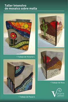 Mosaicos en malla Mosaic Planters, Mosaic Vase, Mosaic Flower Pots, Wood Mosaic, Mosaic Garden, Mosaic Crafts, Mosaic Projects, Mosaic Bottles, Mosaic Stepping Stones