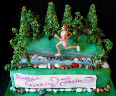 How to Make Edible Trees : Artisan Cake Company Bolo Motocross, Running Cake, How To Make Trees, Tardis Cake, Artisan Cake Company, My Little Pony Cake, Christmas Gingerbread House, Gingerbread Houses, Sport Cakes