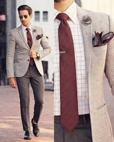 - white blazer white red window pane shirt red striped tie gray tie lip gray lapel flower red silk pocket square gray trousers black double monk shoes no show socks Blazer Outfits Men, Mens Fashion Blazer, Mens Fashion Wear, Suit Fashion, Casual Outfits, Suit Combinations, Moda Formal, Designer Suits For Men, Suit And Tie
