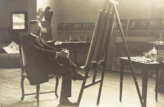 Príncipe Eugênio (1865-1947) em seu estúdio. Eugênio Napoleão Nicolau, duque de Närke, foi o quarto e último filho do rei Óscar II da Suécia e Noruega e de sua consorte, Sofia de Nassau. Ele foi um famoso pintor, colecionador e patrono de artistas.