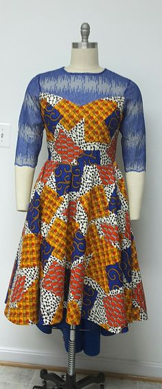 African Print  Fit and Flare Hi-Lo Dress. by NanayahStudio on Etsy