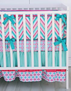 Adorable chevron girls crib bedding in pink  teal...without the bumper, of course! (Follow safe sleep rules parents!)