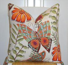 Decorative Pillow Cover -  20x20 - Botanica - Bird - Butterfly - Flowers - Yellow - Orange - Green - Blue