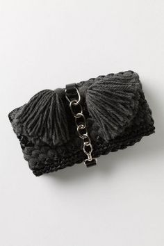 Anthropologie Palmizio Clutch, Gray Wool Raffia Handbag, Lorenza Gandaglia Italy #LorenzaGandaglia #Clutch