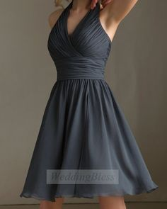 Dark Grey Bridesmaid Dress Charcoal V-neck Bridesmaid Dress with straps on Etsy, $88.00