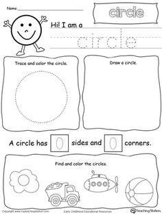 *FREE* All About Circles: Learn all about the shape circle in this math printable worksheet. Practice tracing, drawing, coloring pictures of circles, writing the number of sides and corners. Shapes Worksheet Kindergarten, Shapes Worksheets, Kindergarten Math, Preschool Printables, Preschool Learning, Preschool Activities, Preschool Shapes, Circle Crafts Preschool, Shape Worksheets For Preschool